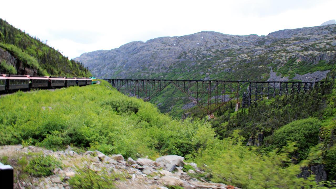 The train passes an old rail bridge. Picture: Shirley Sinclair