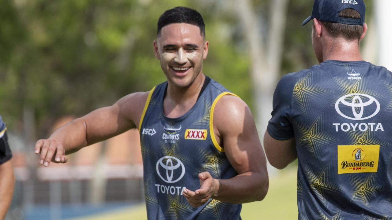 Valentine Holmes at his first North Queensland Cowboys training session. Picture: NQ Cowboys