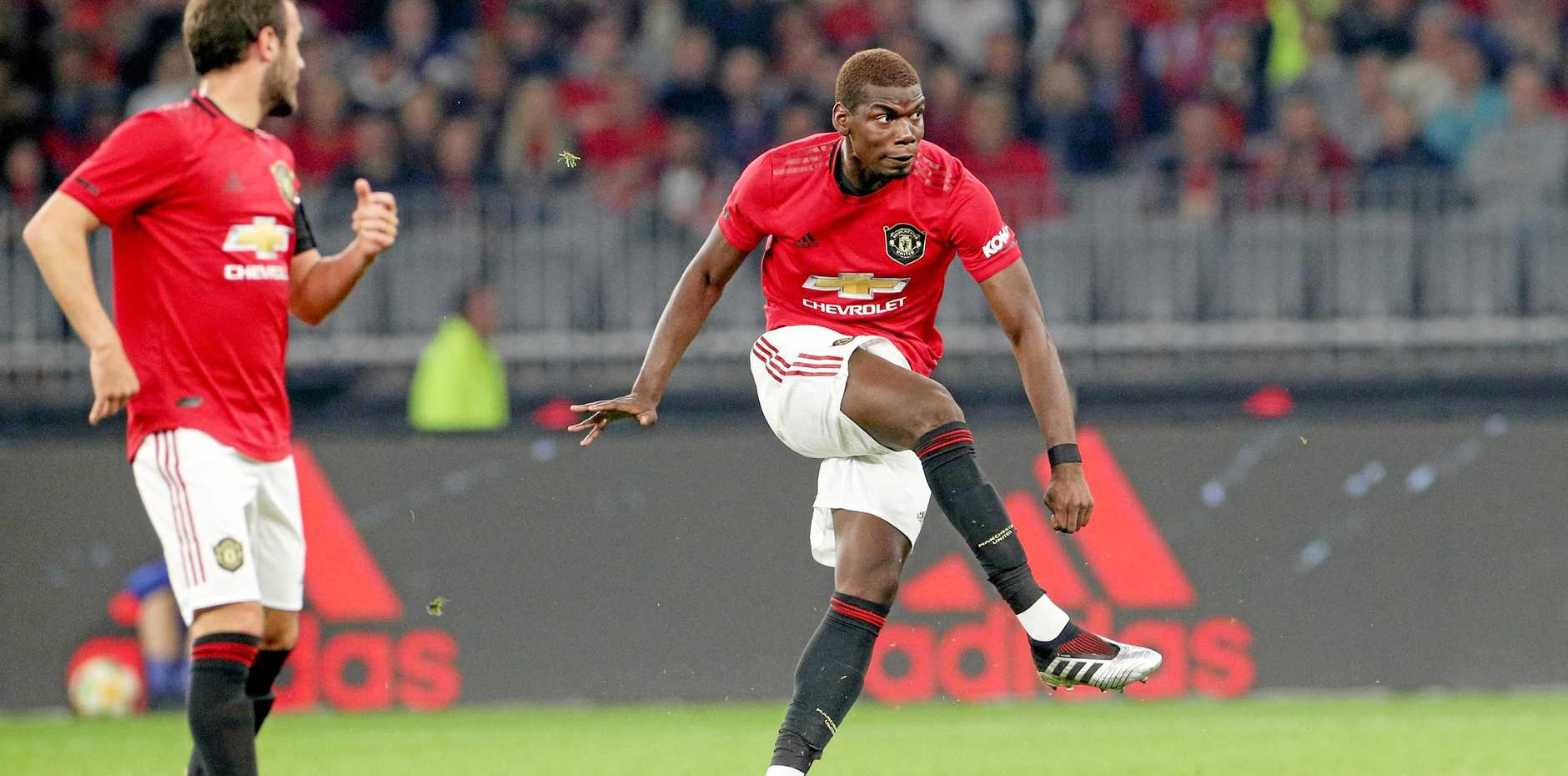 Paul Pogba takes a free kick during the clash between Manchester United and Leeds at Perth's Optus Stadium on July 17.  Picture: Richard Wainwright/AAP