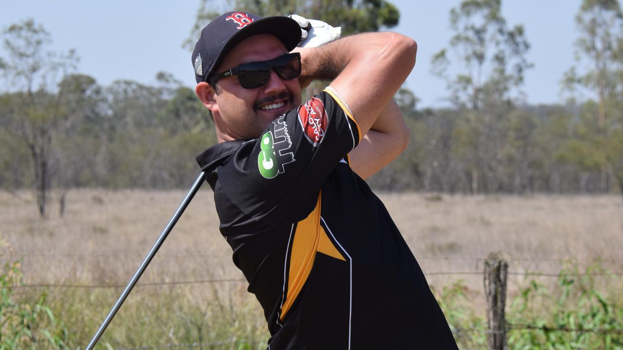 PAR-ADISE: Cody Beggs enjoying his day at the Wondai Golf Course.