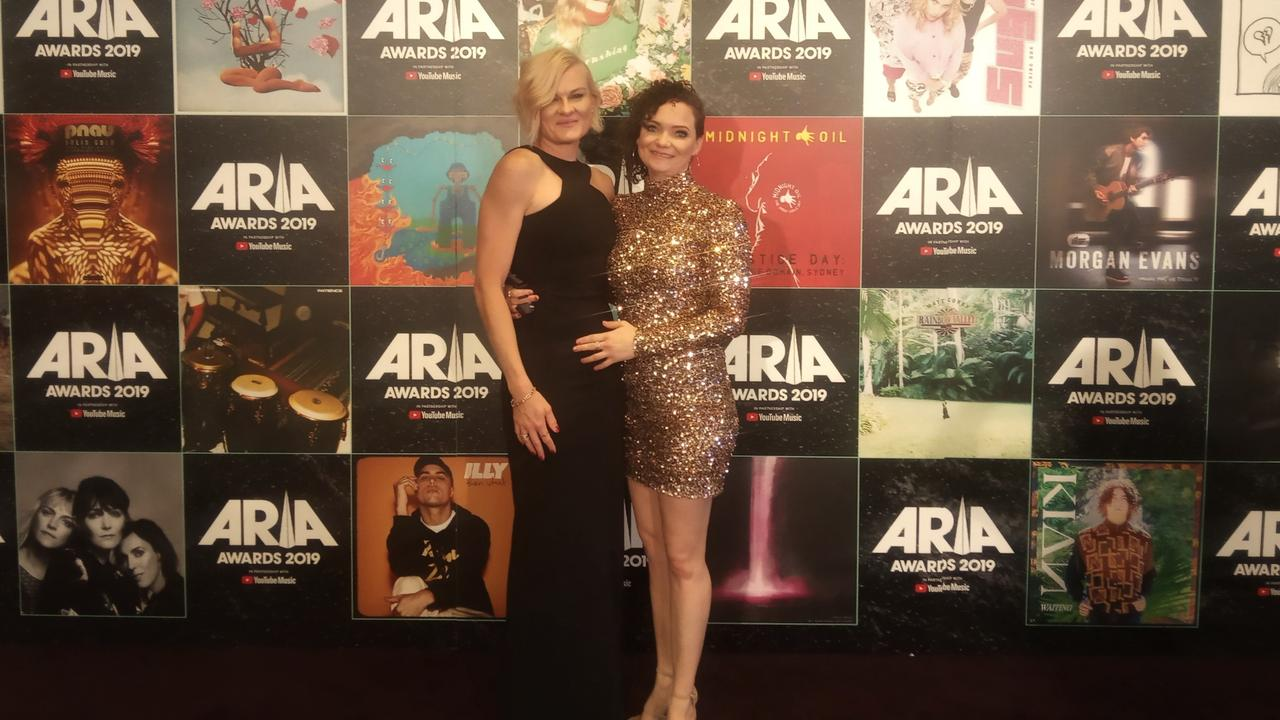 Lee Strickland (right) with partner Nic at the 2019 ARIA Awards. Picture: SUPPLIED