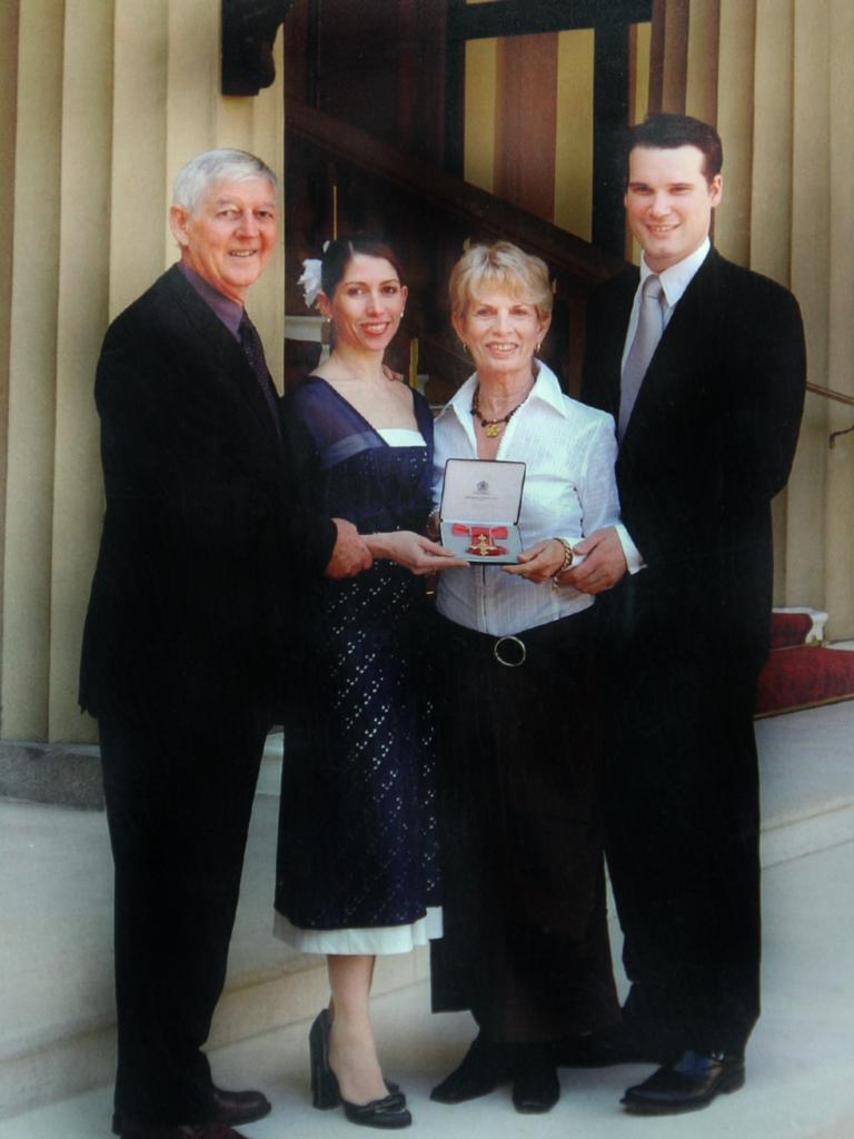 Leanne Benjamin and her family at her OBE investiture at Buckingham Palace. Photo supplied