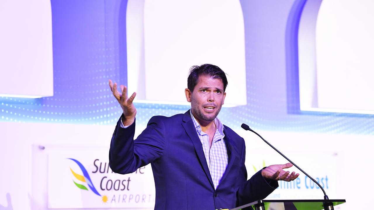 Steve McPharlin had the room's attention when he spoke at the News Corp Future Tourism Forum at the Sunshine Coast Convention Centre. Photo Patrick Woods / Sunshine Coast Daily.