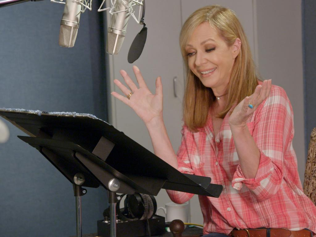Allison Janney in the studio recording the voice of Margaux Needler in The Addams Family.