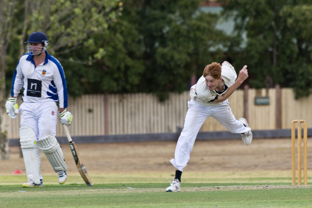 Metropolitan-Easts bowler Dan Brown against University in round two A grade Toowoomba Cricket at Harristown Park.