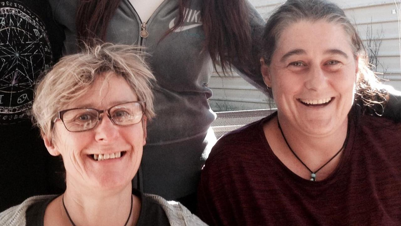 Tamra McBeath-Riley, left, with Claire Hockridge, who had been missing in Outback NT since November 19. Ms McBeath-Riley was found on Sunday but searchers are still looking for Ms Hockridge and a third missing person, Phu Tran. Picture: Supplied