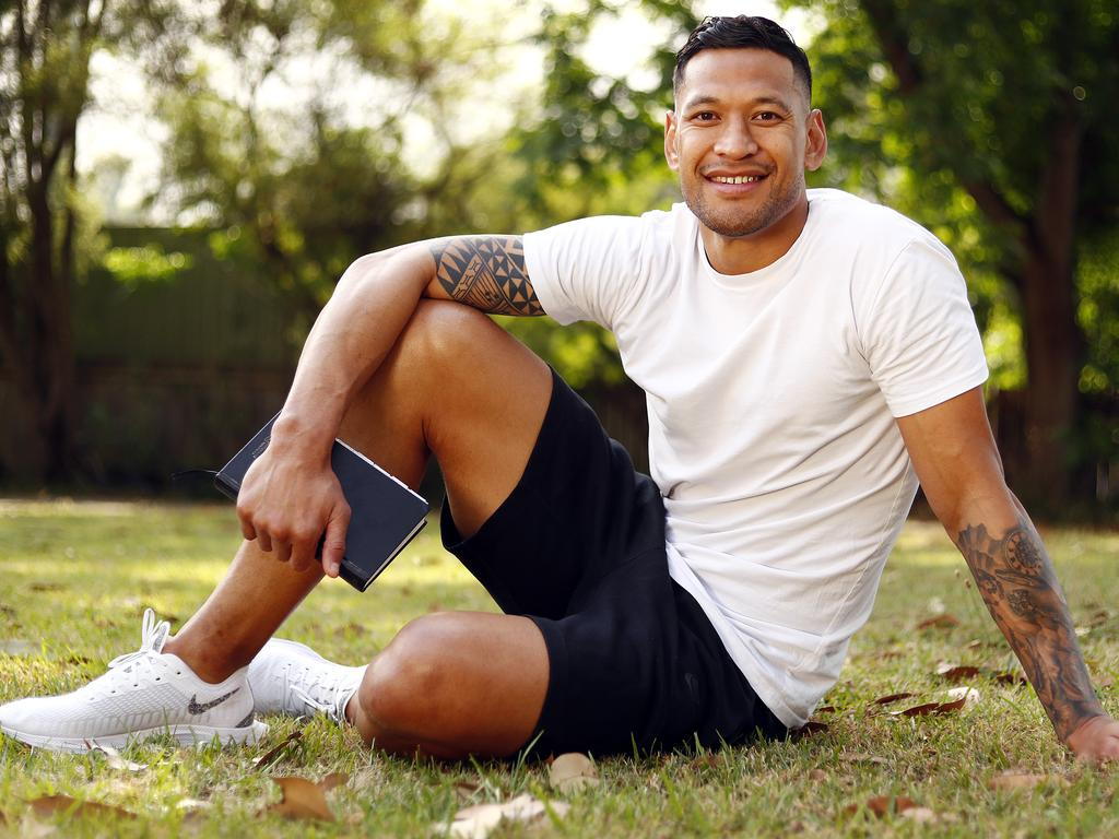 Folau at his Kenthurst church on Saturday has vowed to continue speaking God's word Picture: Sam Ruttyn
