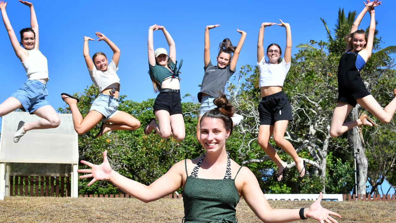 Dance teacher Taylor Hey with some of her senior students, Caitlyn Whitfield, Rhiannon Rasmussen, Katie Egerton, Ally Luhrman, Ella Jackson and Molly Kirkwood. Hey was voted one of Mackay's best coaches in an online poll conducted by the Daily Mercury.