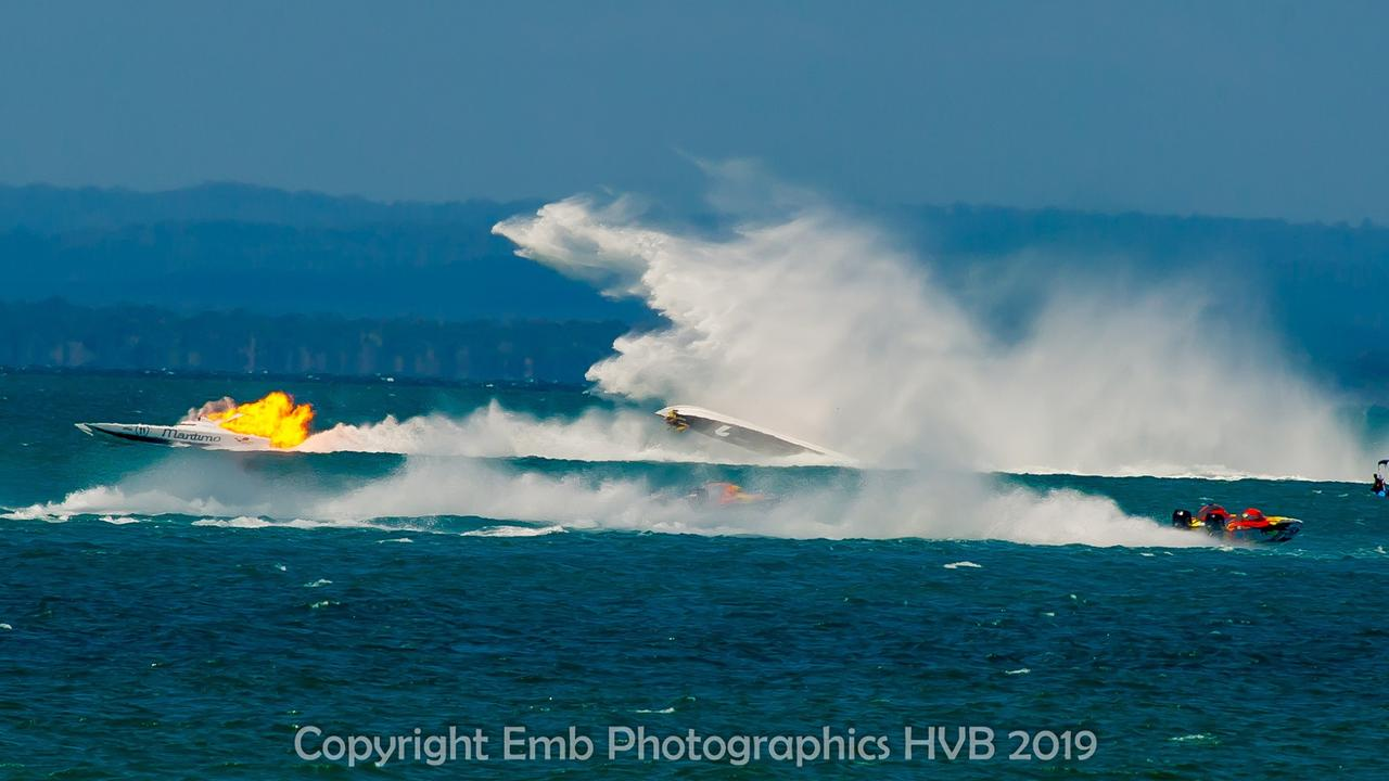Maritimo on fire after being struck by The Judge in yesterday's superboat race in Hervey Bay.
