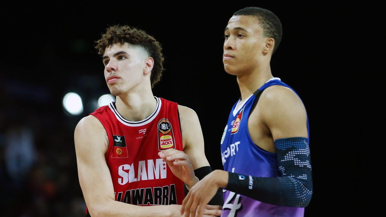 LaMelo Ball and RJ Hampton clash in New Zealand. Picture: Photo by Anthony Au-Yeung/Getty Images.