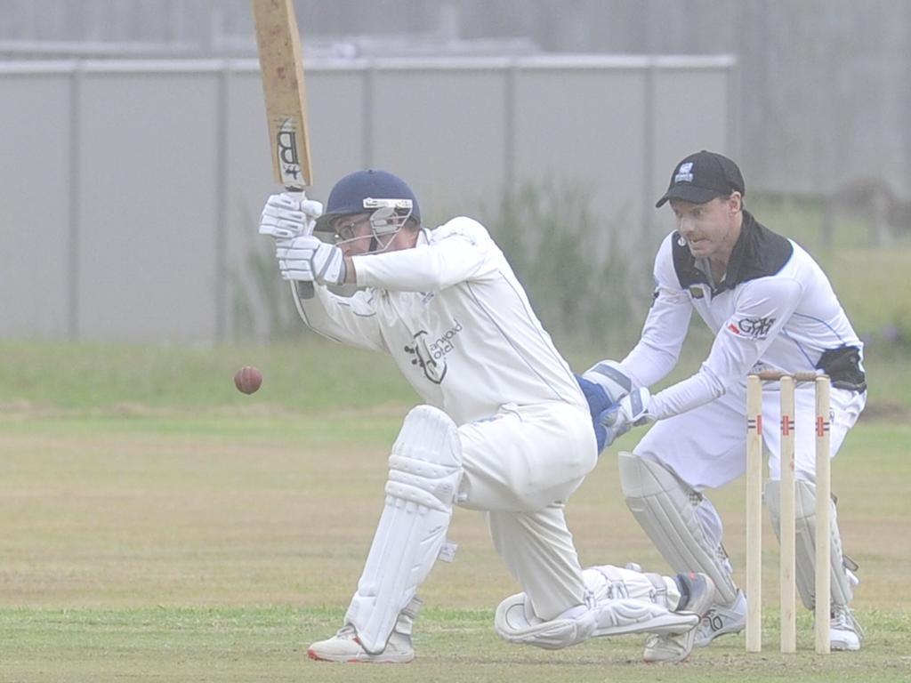 Harwood batsman Doug Harris nicks into the vacant gull region in the North Coast Cricket Council Premier League round six match between Harwood and Northern Districts at High Street Playing Fields in Woolgoolga on Saturday, 30th November, 2019. Photo: Bill North