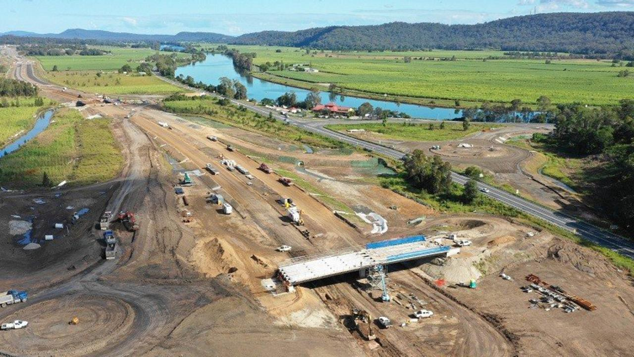 VIEW FROM ABOVE: The Maclean interchange on the Pacific Highway upgrade is a work in progress.