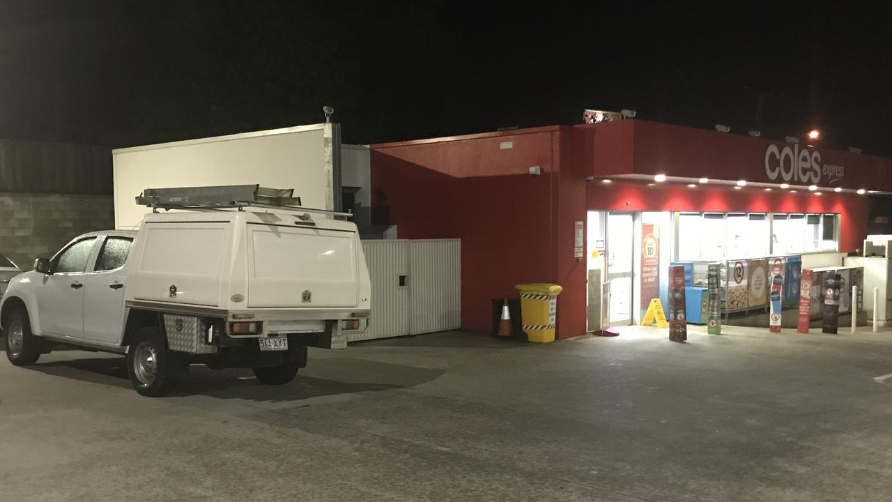 ARMED ROBBERY: Gympie CIB are investigating an armed robbery which occurred at Coles Express on 102 River Road Gympie just after 6.30pm tonight. A man is believed to still be on the run. Photo: Philippe Coquerand