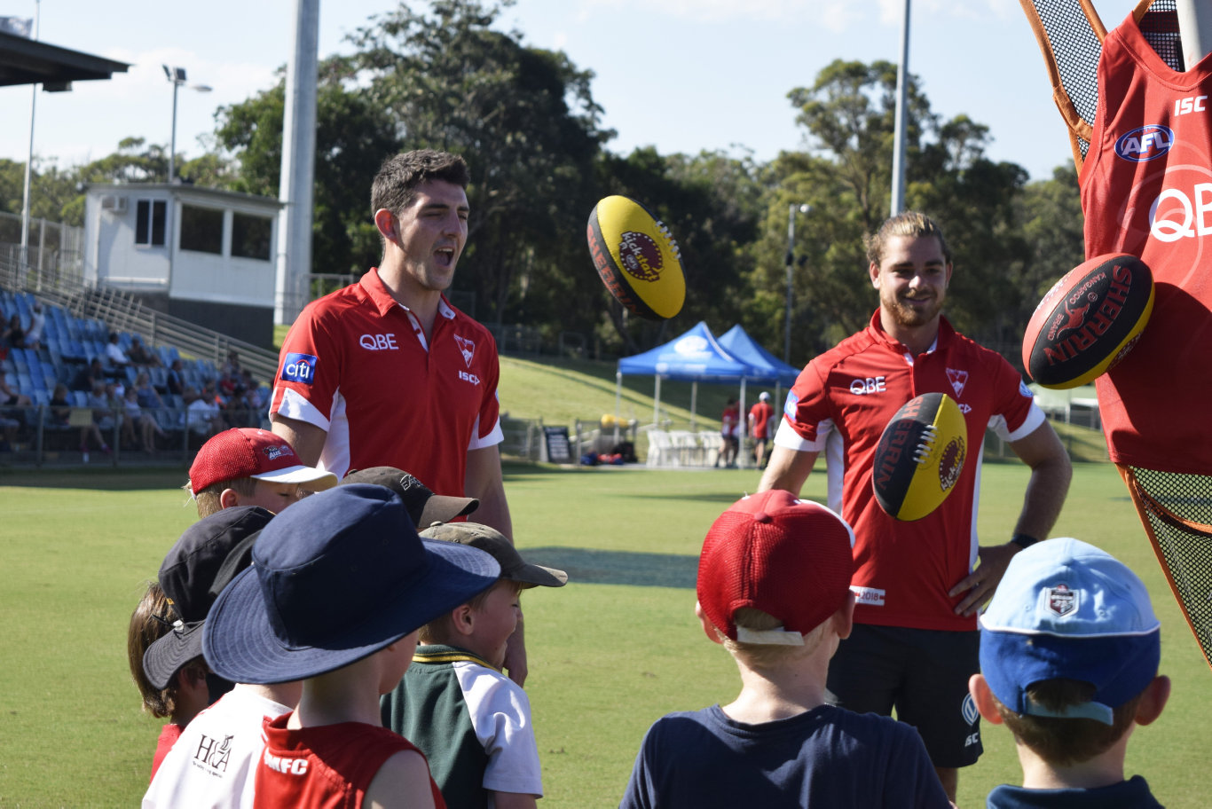 The Sydney Swans conducted a junior AFL clinic for young locals at the C.ex Coffs International Stadium. 14 February 2018 Photo: Brad Greenshields/Coffs Coast Advocate