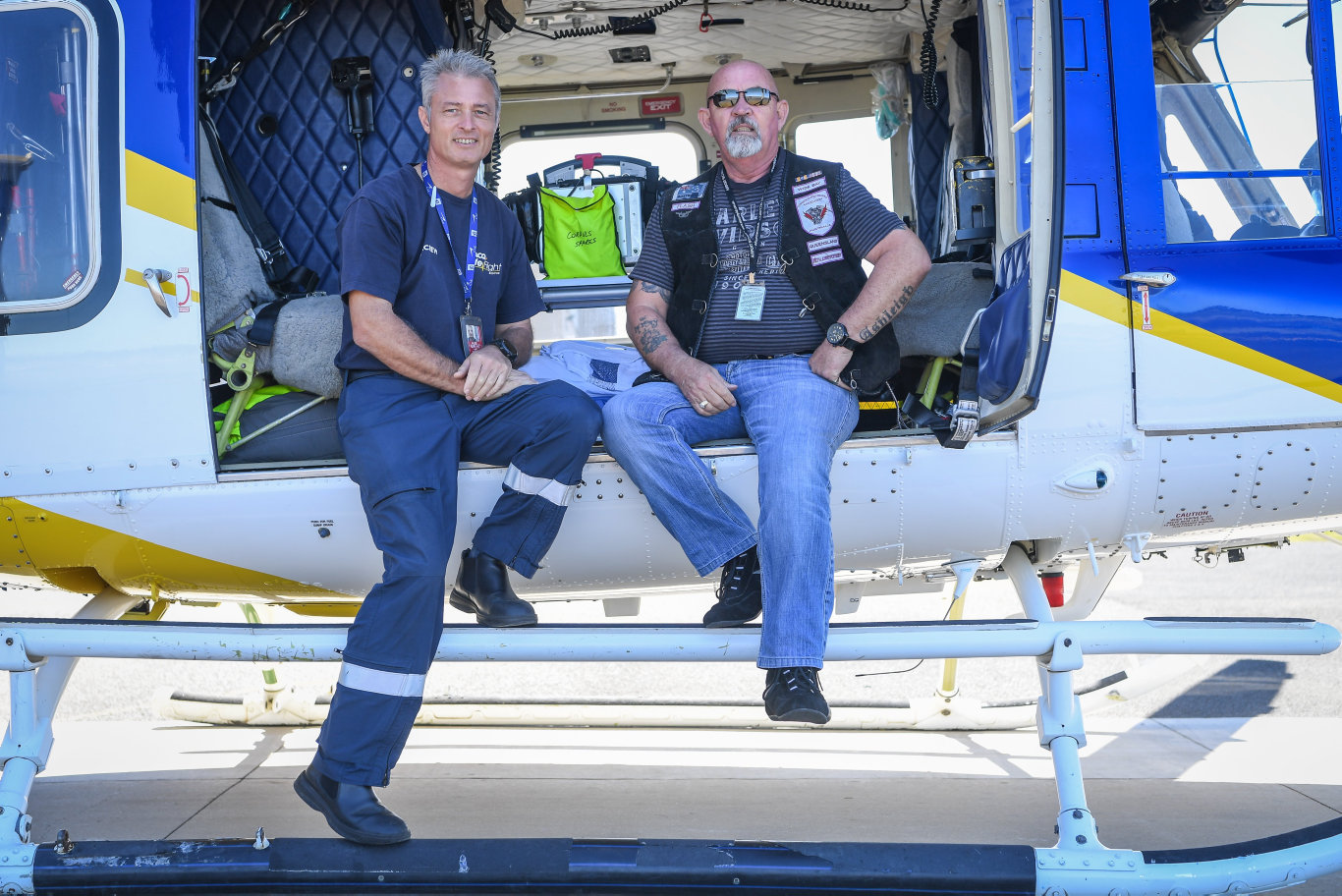 Graham Cowden meets up with the RACQ LifeFlight Rescue pilot that rescued him after a serious motorbike accident.