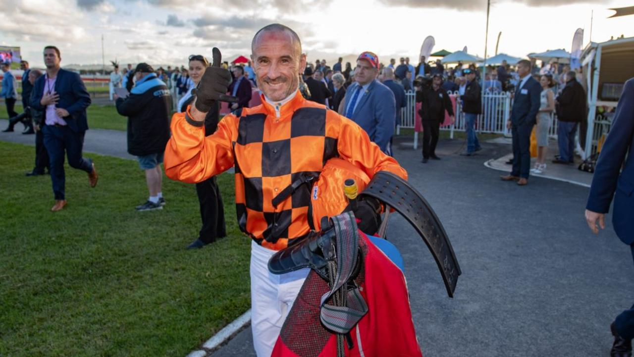 THE BOSS: Jockey Glen Boss walks back to scale after winning this year's Coffs Harbour Gold Cup on Love Shack baby.
