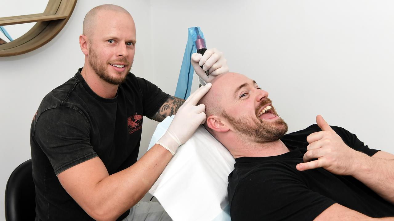 FRESH LOOK: Nathan Tuite owner of Coastal Skin Clinic with client Julius Toole. Photo: Patrick Woods.