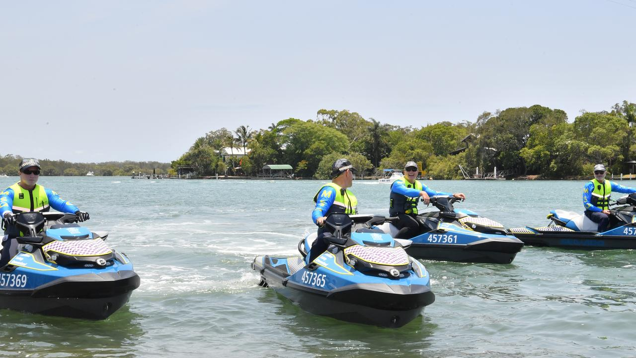 ON PATROL: Marine officers Tristan Carlson, Gary Crosier, Richard Cresswell and Steve Macaroni are part of the summer enforcement campaign. Photo: John McCutcheon / Sunshine Coast Daily