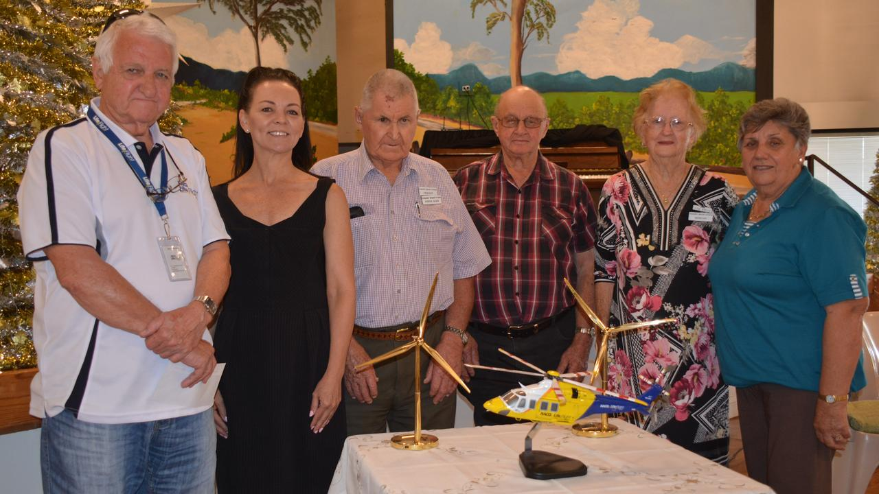 SUPPORT: Lifeflight's Geoff Clements accepts the $1200 donation from AGL's Sharyn Garrett and Kingaroy Senior Citizens committee members Gordon Glode, Evan Jackwitz, Clare Schultz and Lorraine Bochmann. (Photo: Jessica McGrath)