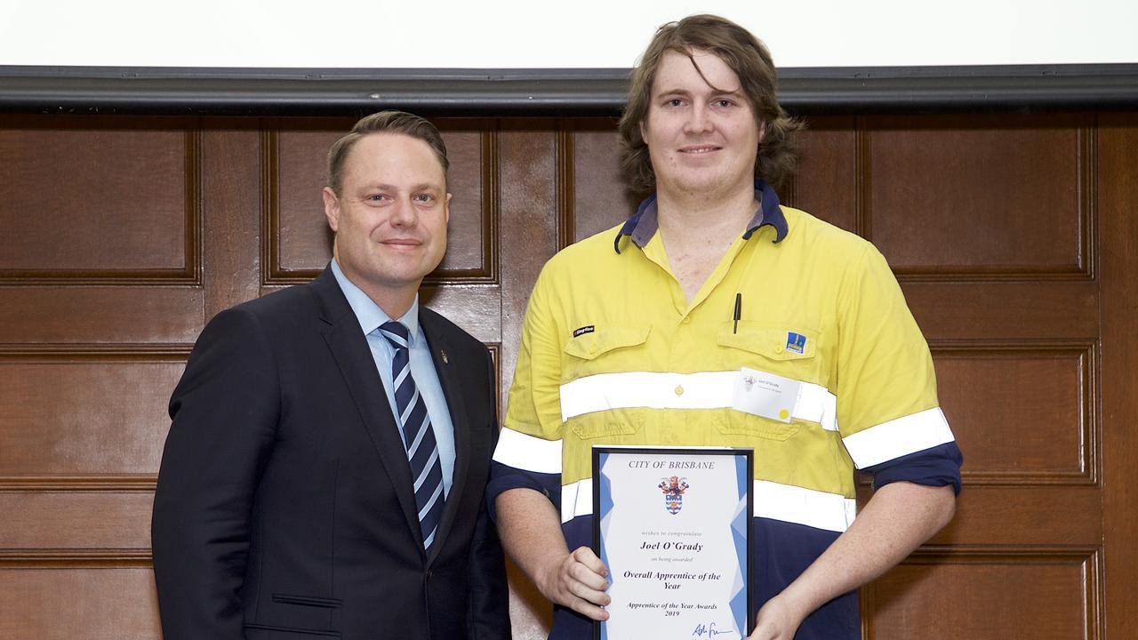 Brisbane City Council Lord Mayor Adrian Schrinner with Joel O'Grady