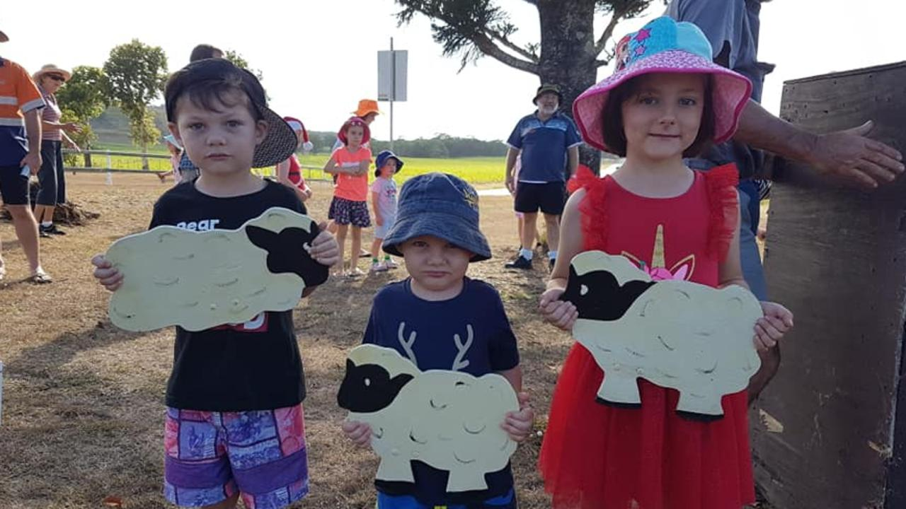 Zavier Rae, 5, Amais Rae, 3, and Taylor Abbott, 6, holding their oversized decorations for the annual Habana and Districts Progress Association Carols Under the Stars celebrations.