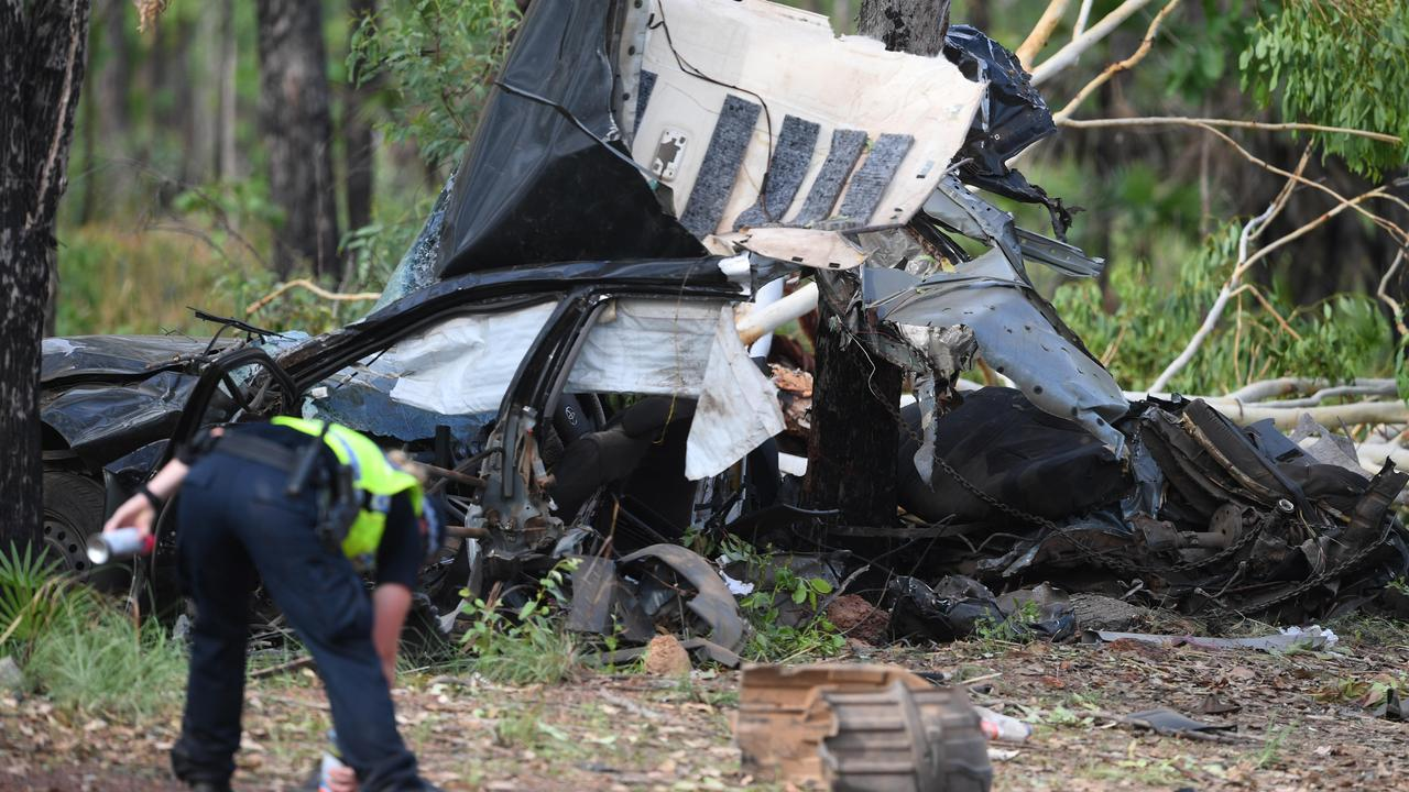 Police investigate the crash in which five peoplewere killed on the Arnhem Highway on Monday morning. Picture: Katrina Bridgeford