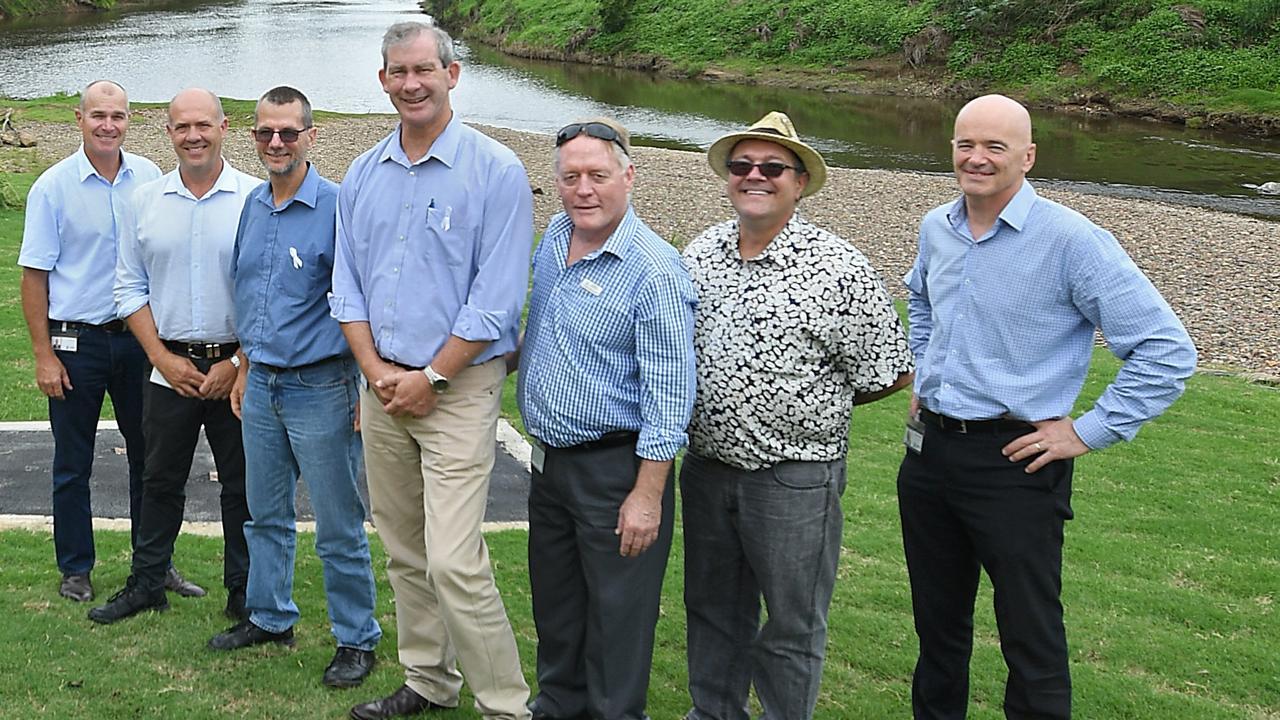 Mary River walk councillors Bob Leitch, Mal Gear, Dan Stewart, Mick Curran Mark McDonald, Daryl Dodt and Bernard Smith.