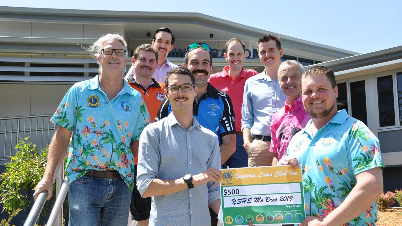 Yeppoon State High School teachers Daniel Gardner, Clint Holloway, Andrew Willis, Tony Wellspring, Nigel Hutton, Damien Hogan, Steve Griffin, Alister Gehrmann and Luke O'Donnell Growing their Mo's for Movember
