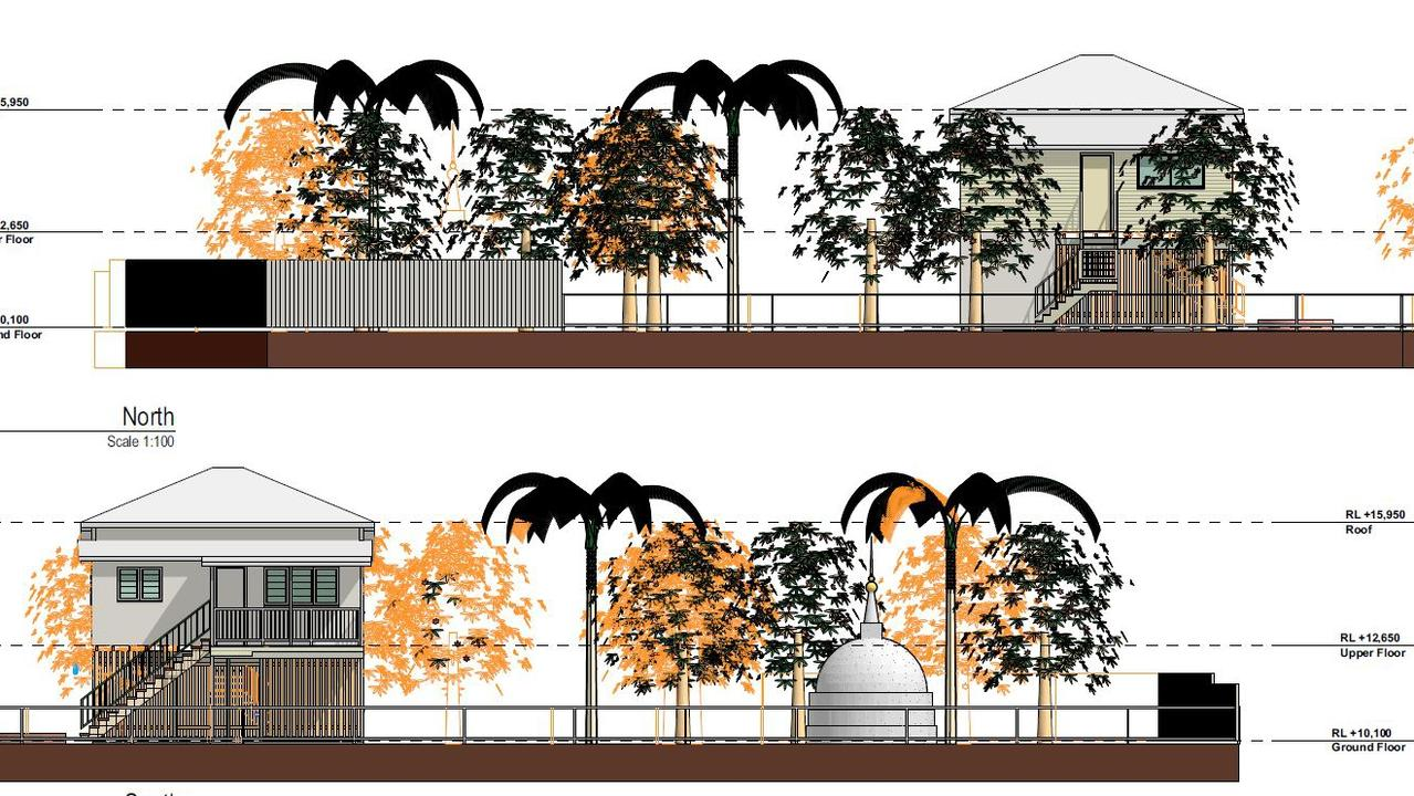 Proposed plans of the Samadhi Buddhist Temple in Port Curtis.