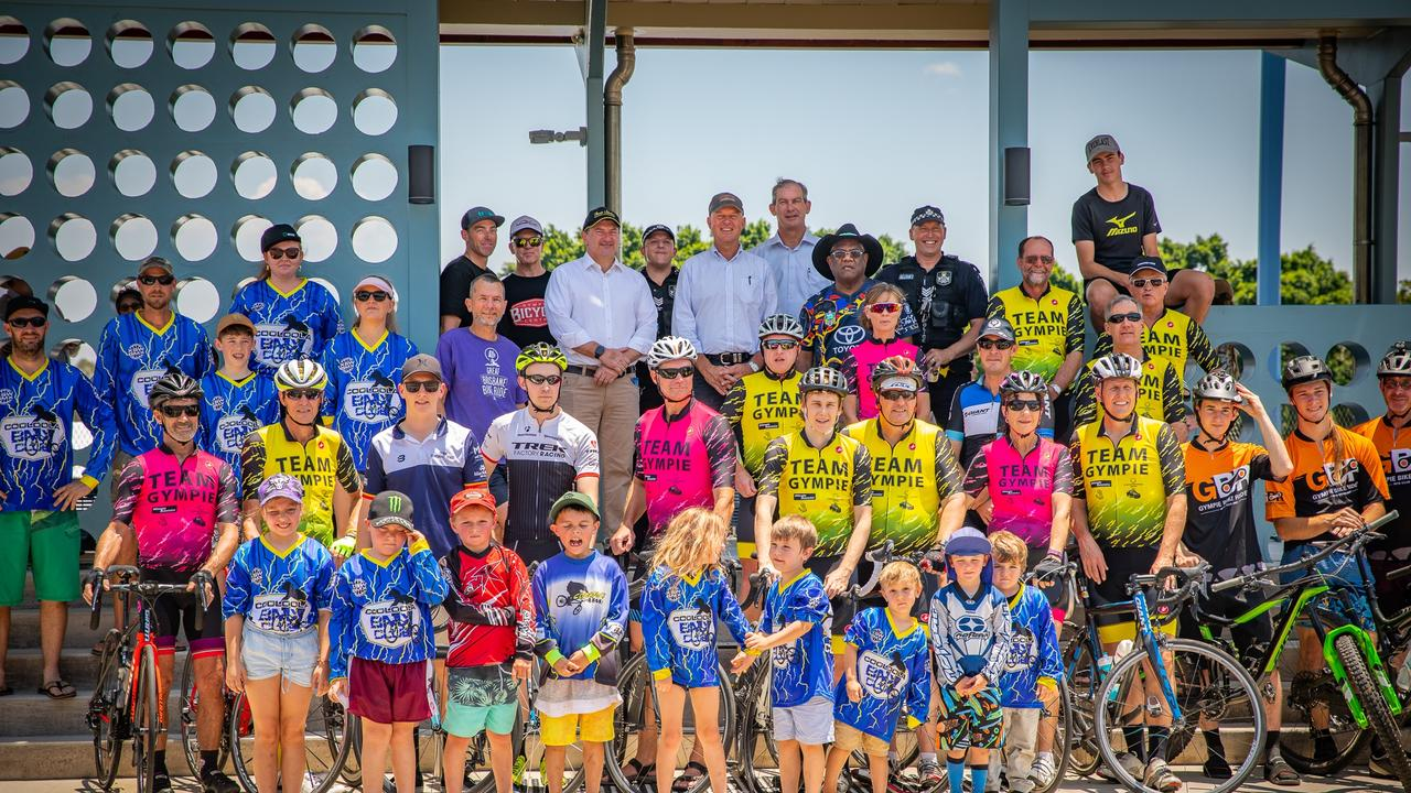 Members of Cooloola BMX Club Inc., Gympie Bike Riders MTB Club Inc., Team Gympie Cycling Group, Gympie Bicycle Centre, Gympie Police, Uncle Tias, Llew O'Brien MP, Mayor Mick Curran, Tony Perret, Councillor Dan Stewart.