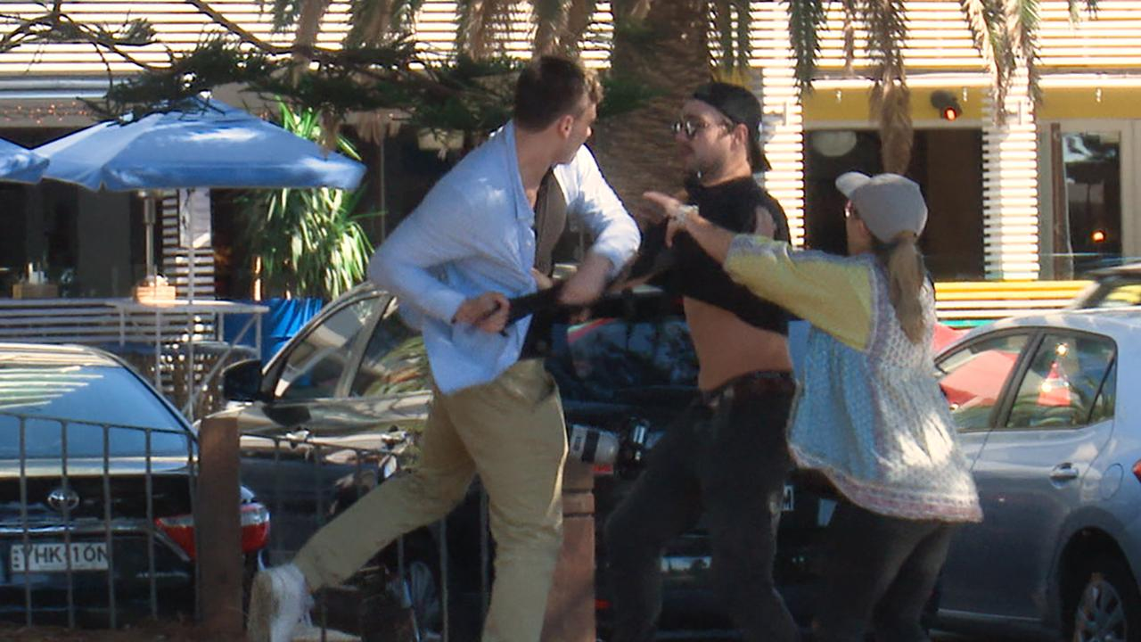 The scuffle was captured on video. Picture: Andrew Leeson
