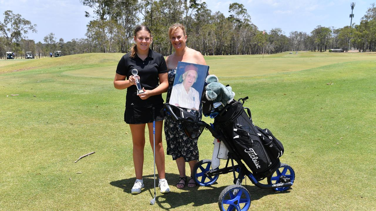 Lydia and Alison Shackell remembering James Dobson who's estate donated $30,000 to the Hervey Bay junior golf program.