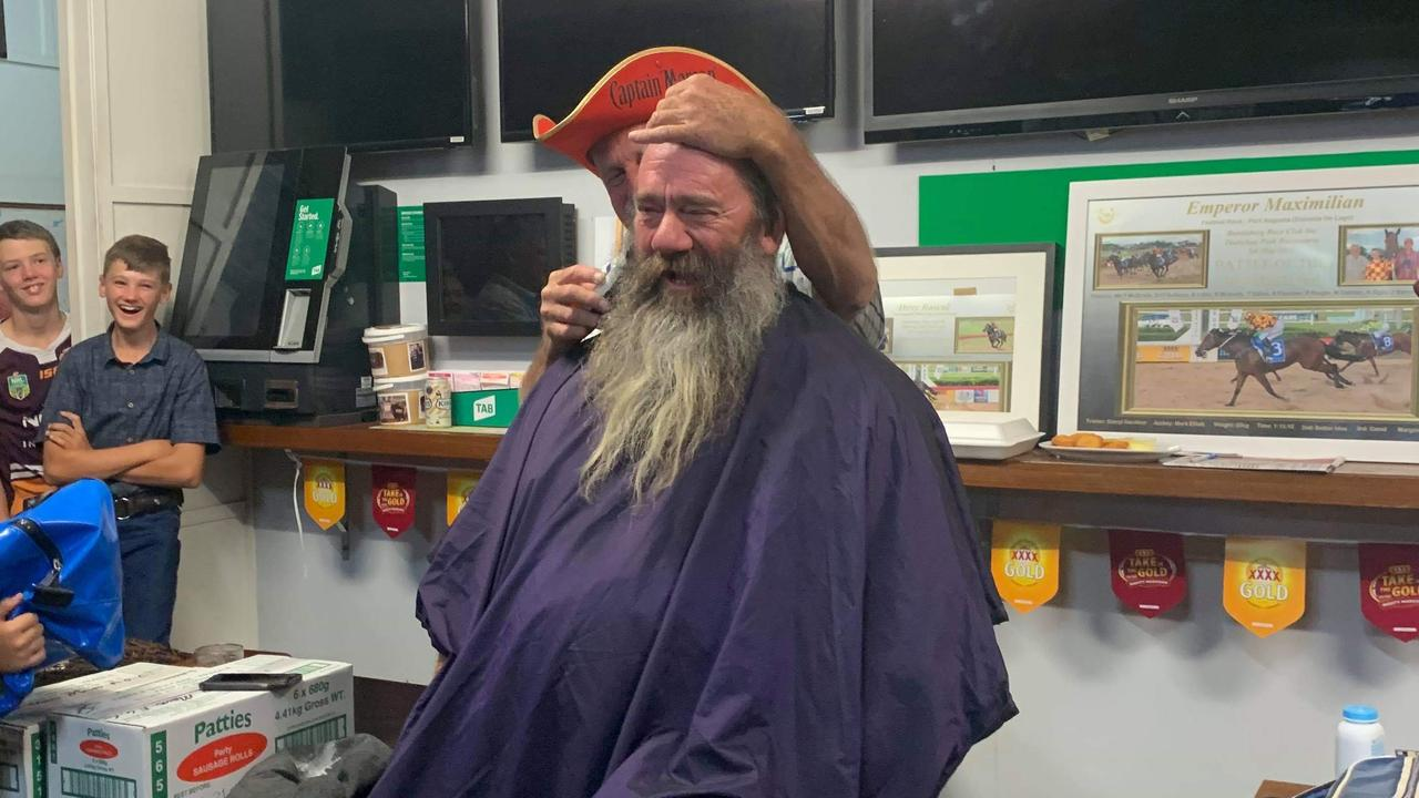 MONTO'S MOVEMBER: Gerry Morgan preparing for the shave at the Monto Grand Hotel's Movember Shave 2019. Picture: Brie Hawley.