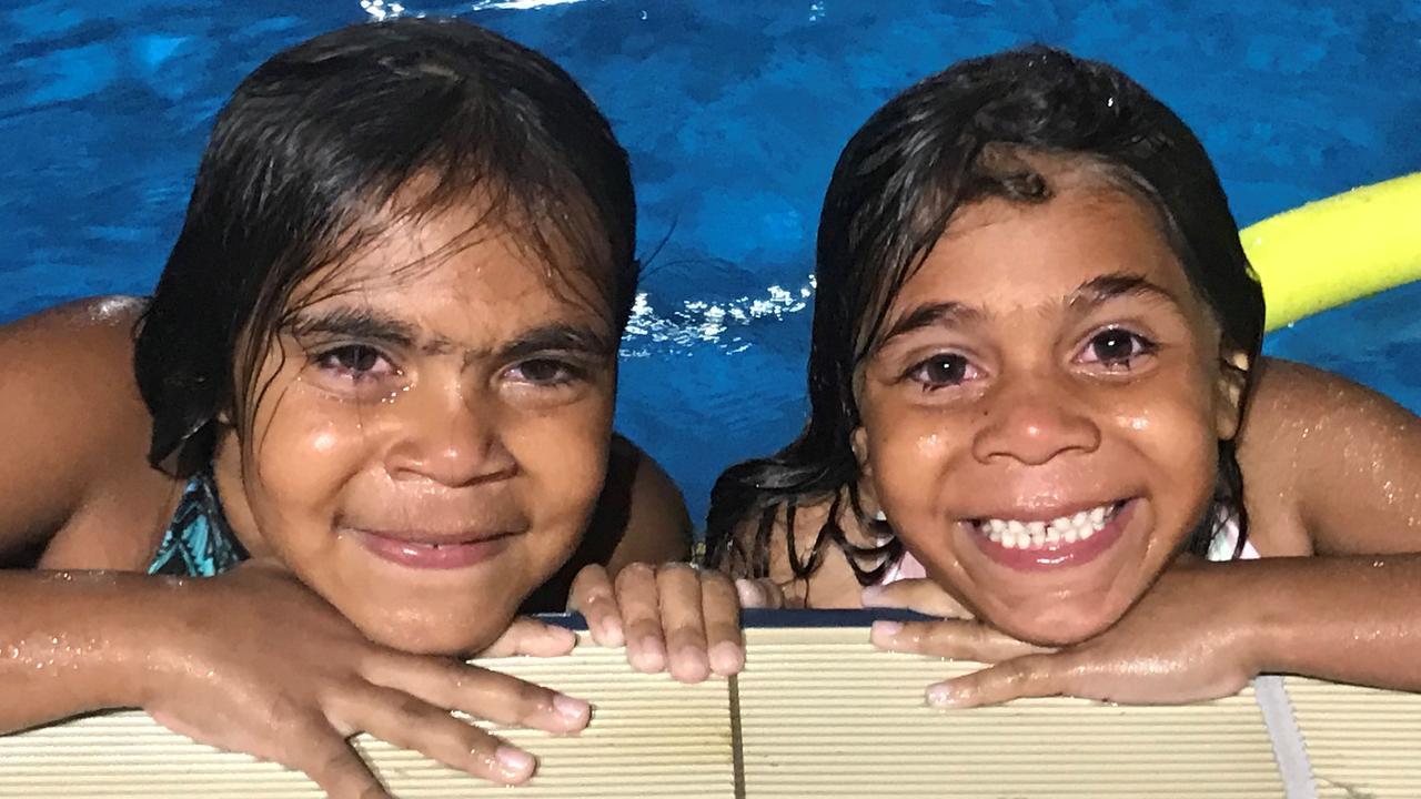 Chloe Blair, 8 and Sharlene Blair, 6 in the swim of things at Murgon Jubilee Pool.