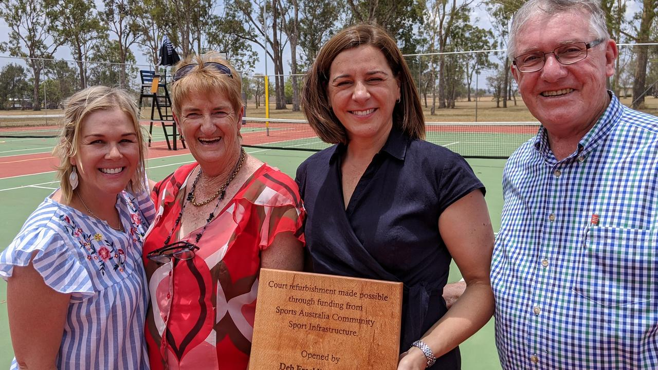PLAY BALL: Grant writer Jules Entwistle, Kumbia Tennis President Desi Crawford with member for Nanango, Deb Frecklington and South Burnett mayor, Keith Campbell.