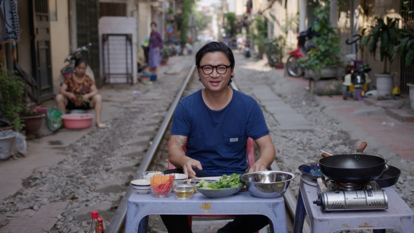 Chef Luke Nguyen even cooks on railway tracks in his new series.