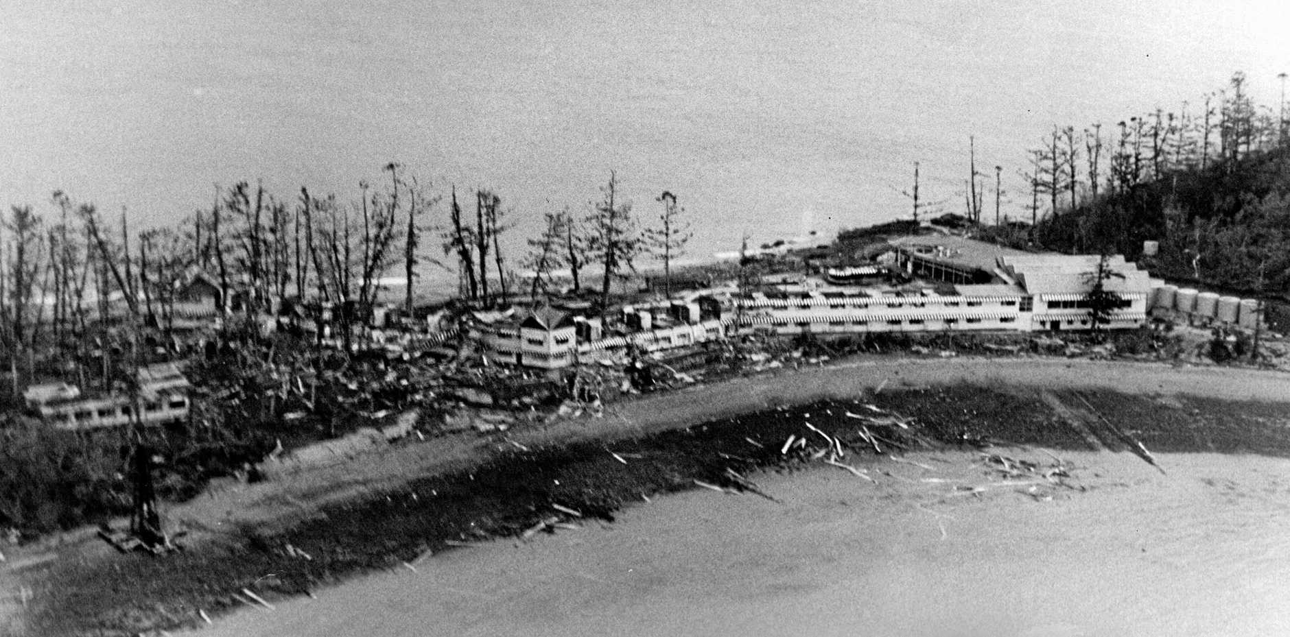Daydream Island after Cyclone Ada struck, 1970.