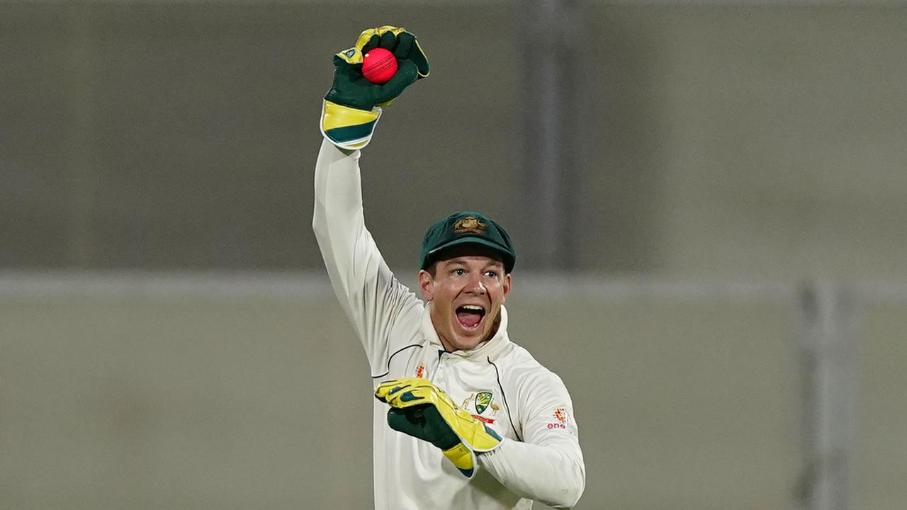 Howzat? Tim Paine appeals for a catch. Picture: AAP