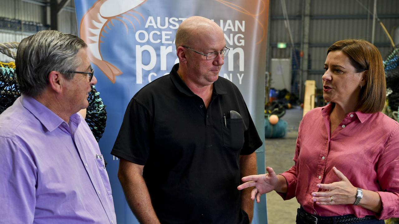 Hervey Bay MP Ted Sorensen and owner of Australian Ocean King Prawn Company Stephen Murphy with Opposition leader LNP's Deb Frecklington.