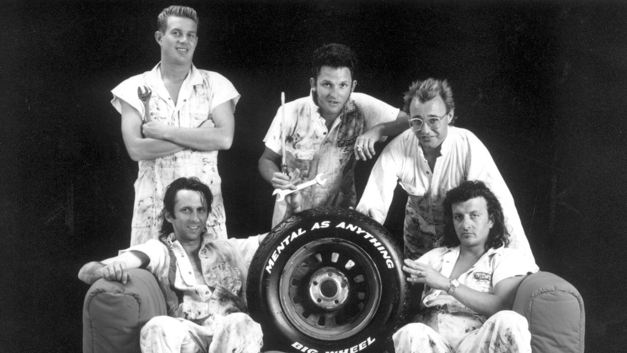Members of Australian new-wave rock band ''Mental As Anything'' Wayne Delisle, Peter O'Doherty, Martin Plaza, Greedy Smith and Reg Mombassa, 1980s.