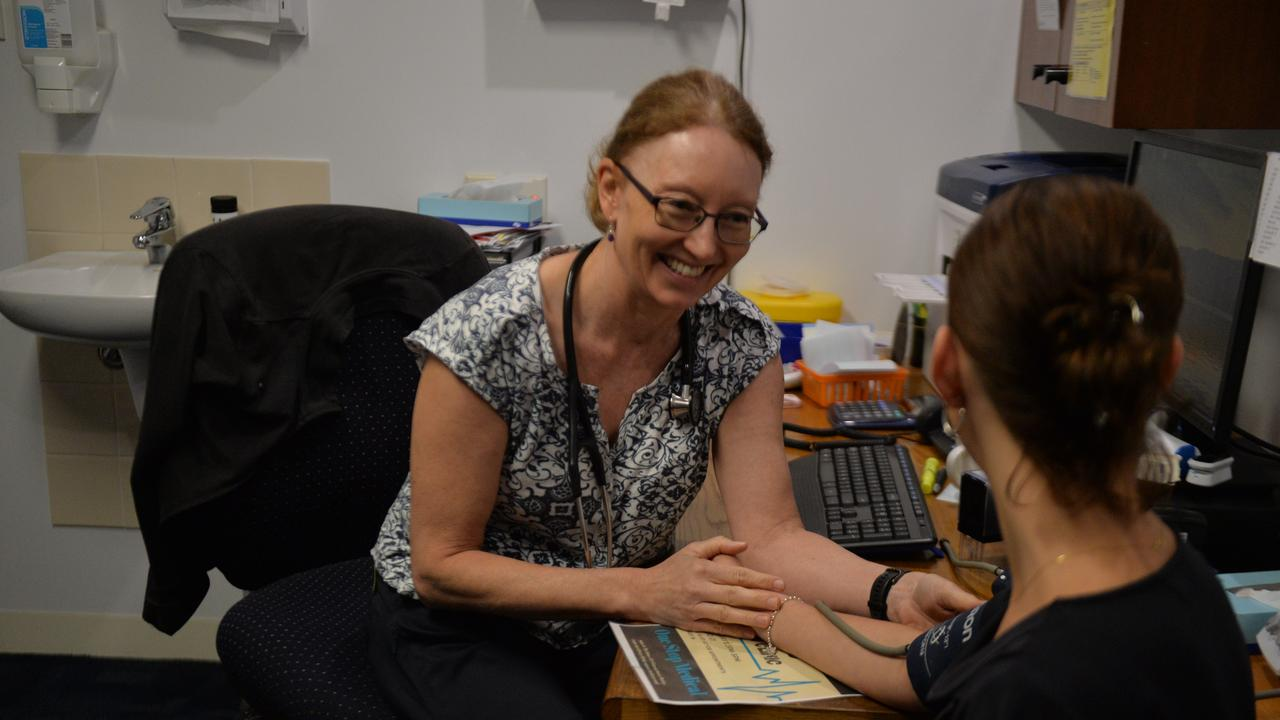 One Stop Medical director Dr Rachel Bidgood checks a patient's blood pressure. Picture: Nick Wright