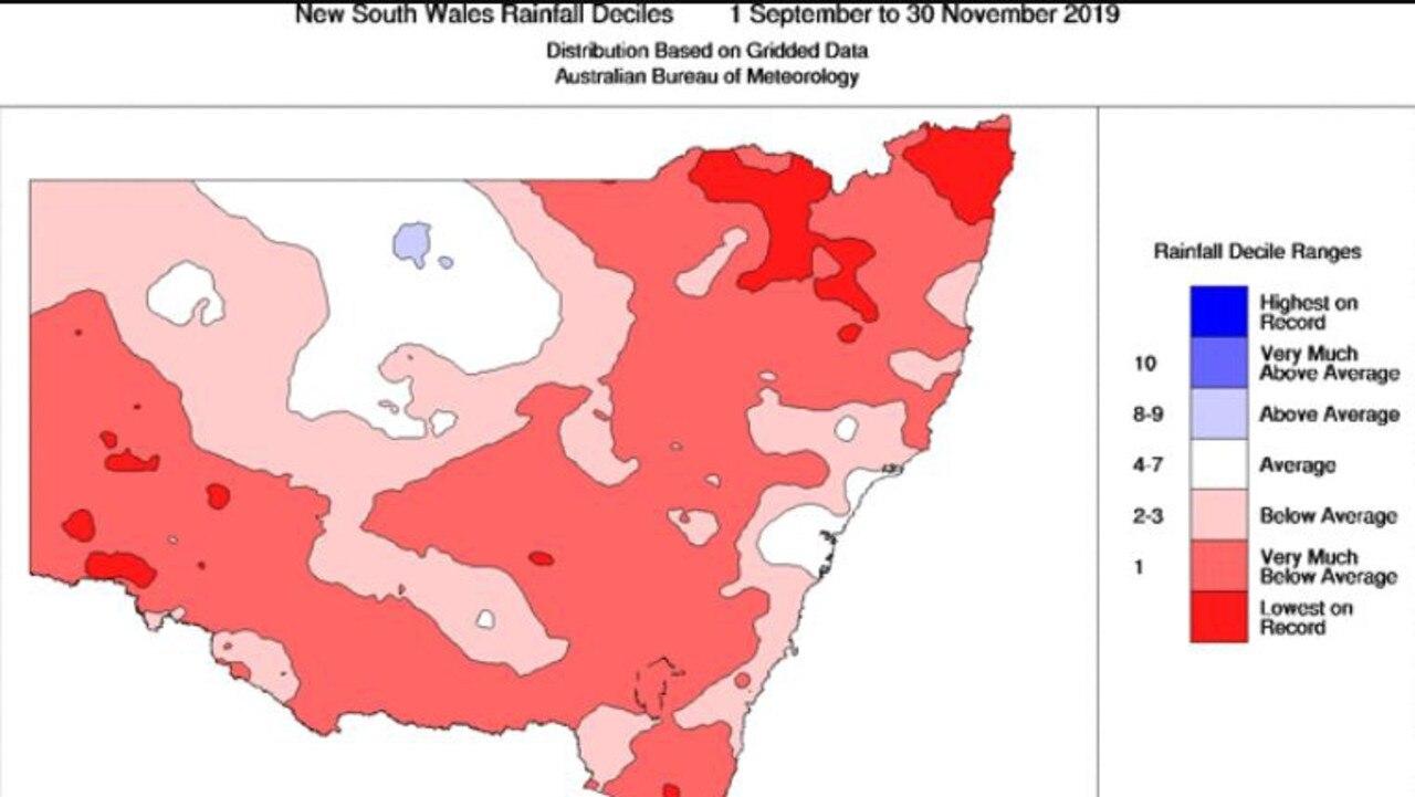 Rainfall in NSW from September 1 to November 30.