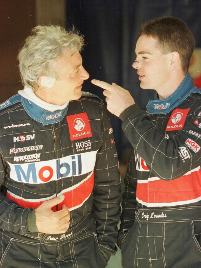 Peter Brock and Craig Lowndes in the famous HRT colours.