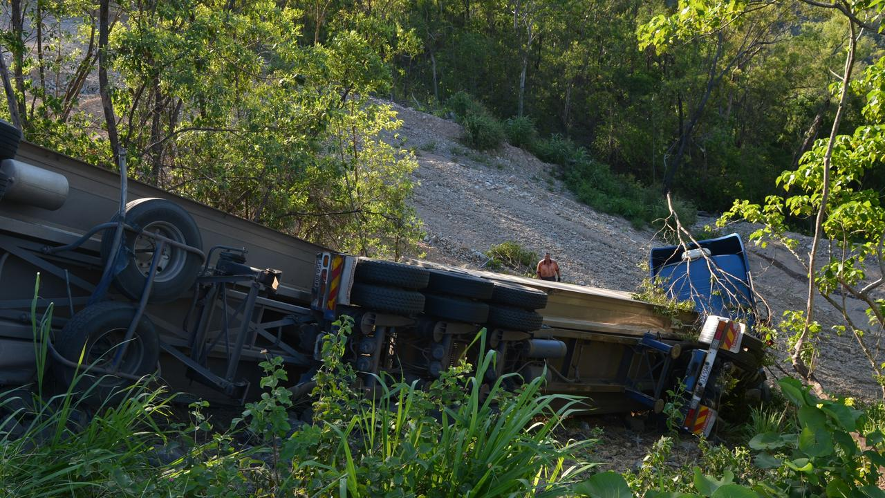 A truck driver was lucky to walk away from this rollover at the top of Eton Range in the Photo Lee Constable/ Daily Mercury