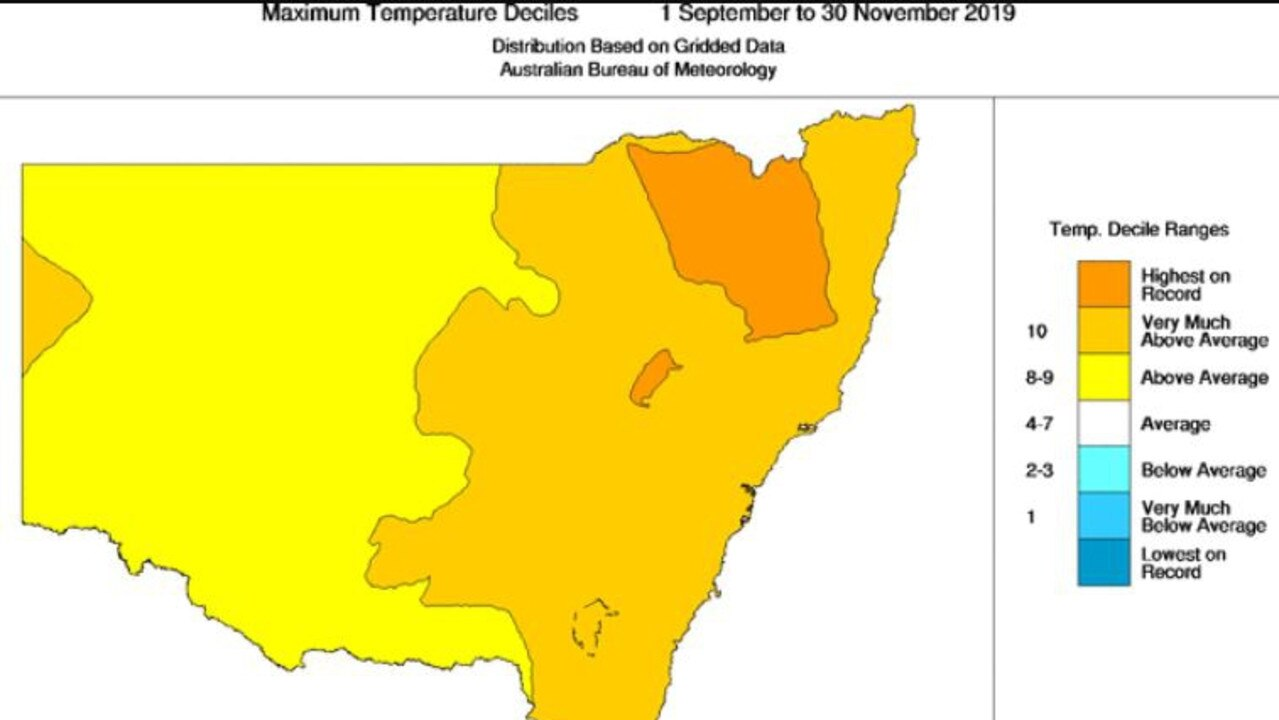 NSW maximum temperatures 1 September to November 30.
