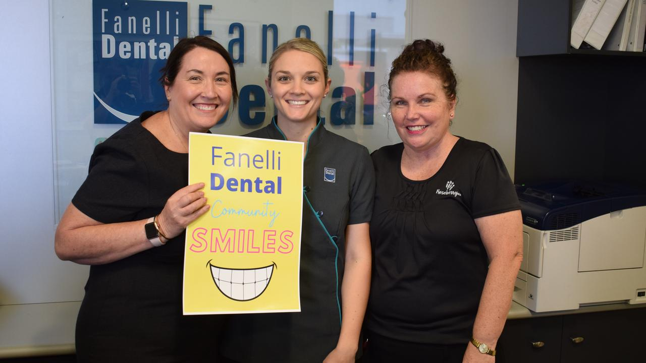 ALL SMILES: Judy Fanelli, Zoe Walmsley and Colleen Tribe excited about Fanelli Dental's Community Smiles Project