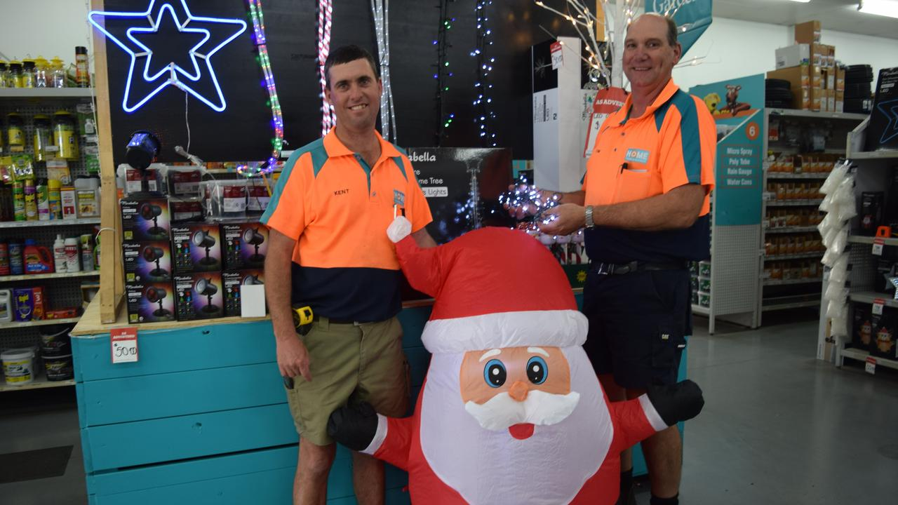 HEALTHY COMPETITION: Biloela Home Timber and Hardware's Tim and Kent love the fun that comes with the Christmas lights competition.