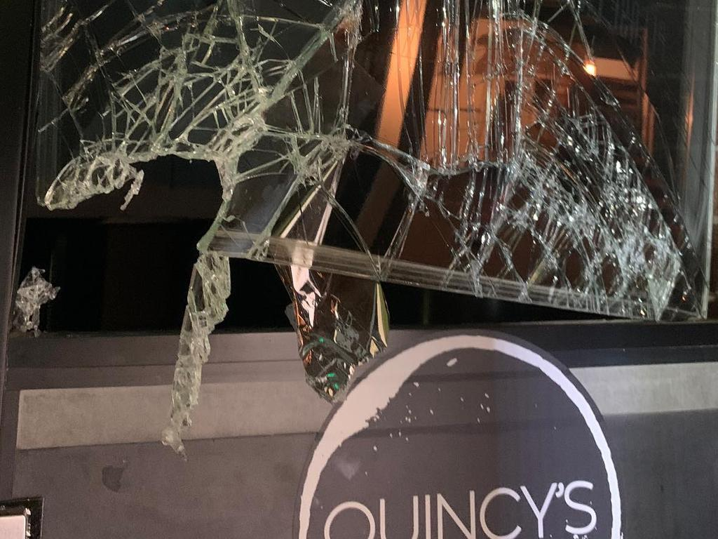 "Quincy's at the Grange was broken into on Monday night. The owners have declared that their ""spirits will not be broken""."