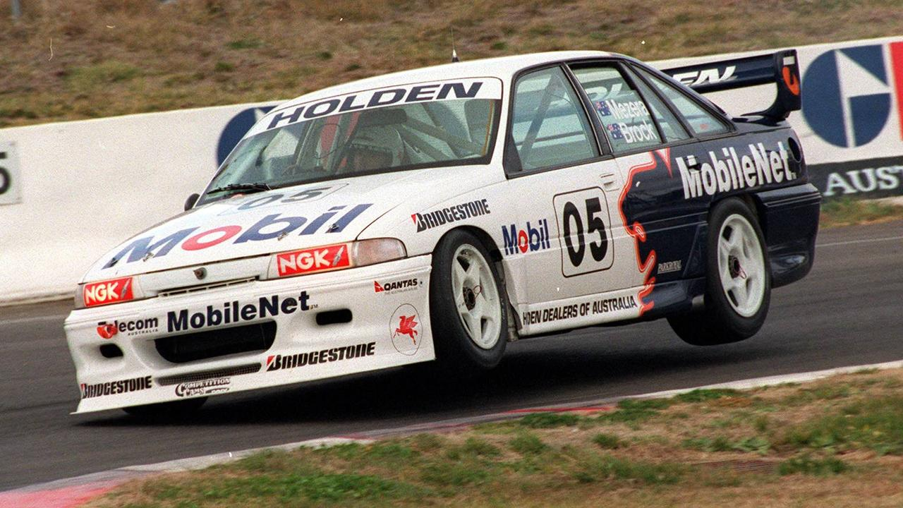 Peter Brock gets some air for the Holden Racing Team during the 1994 Bathurst 1000.
