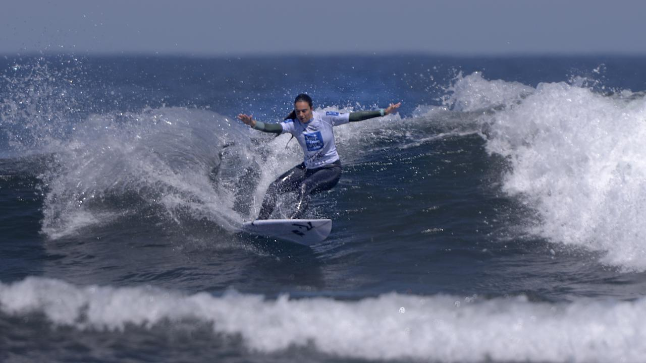Noosa's Giorgia Lorentson has started the Australian Junior Surfing Titles in strong form. Picture: Blainey Woodham/Surfing Australia